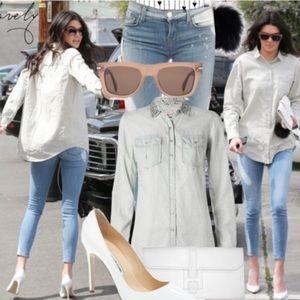 J. Brand Splatter Paint Skinny Jeans Bleach Denim